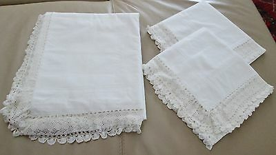 Antique Linen King Sheet & Pillow Layover Shams Ornate Hand Crocheted Trim