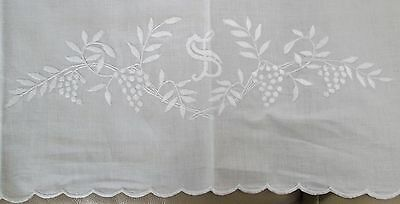 Antique Linen Top Sheet S Monogram Scalloped Edge w/ Buttonhole Embroidery