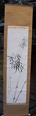 Sumi-e Japanese handpainted kakeji scroll, signed