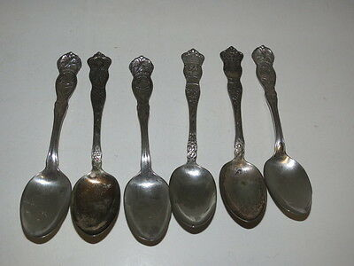 * Lot Of 6 Souvenir Spoons Foreign & State And Local *