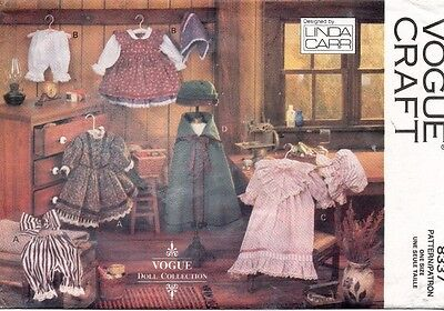 """VOGUE Early American Doll Clothes Pattern 8337 Size 18""""  UNCUT"""