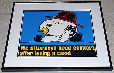 PEANUTS SNOOPY VINTAGE 1990s FRAMED POSTER PRINT CHARLES SCHULZ LAWYER ATTORNEY