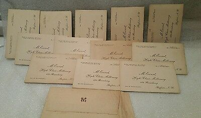 12 Victorian Business trade cards. M. Ewert High Class Millinery Shop 676 Broadw
