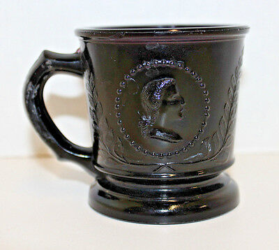 Vintage Antique Amethyst Purple Glass George & Martha Washington Cup / Mug; Eapg