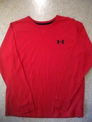 Under Armour Boy's Charged Cotton Long Sleeve T-Shirt Size Youth L G Red