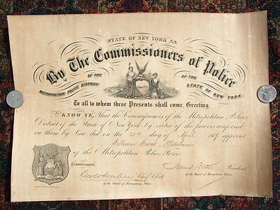 Rare Set(3) 854  New York Commisioners Of Police Appointment Documents