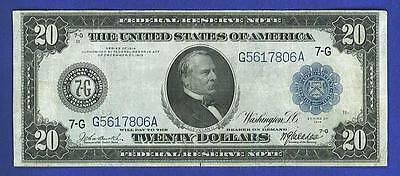 $20 1914 LARGE BEAUTIFUL Blue Seal 'CHICAGO, IL' Federal Reserve Note!