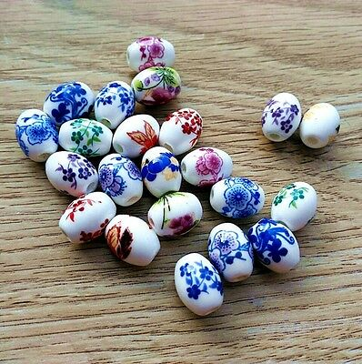 50/100 Qty Porcelain Barrel Shaped Spacer Beads Beads findings 8x10mm