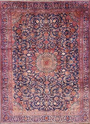 """Antique Floral Navy Blue 9x12 Mashad Persian Oriental Area Rug 11' 8"""" x 8' 8"""""""