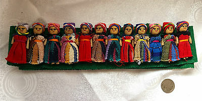 Rare HTF New Old Stock NOS Vintage 1970s Guatemalan 12 Worry Dolls Belt 66""