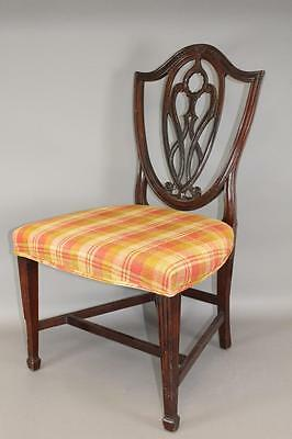 A Great Southern Hepplewhite Carved Back Side Chair Old Surface Upholstered 2/2