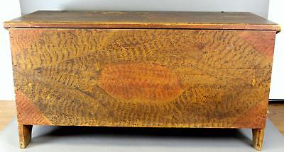 Museum Quality 18Th C Blanket Chest In Original Mustard Black Red Grained Paint