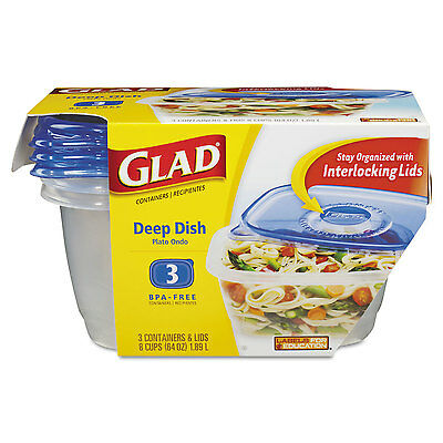 GladWare Deep Dish Food Storage Containers, 64 oz, Large Rectangle 3PC BPA-Free