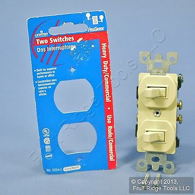New Leviton Ivory Double Wall Light Switch Toggle 15A Single Pole 5224-2I Carded