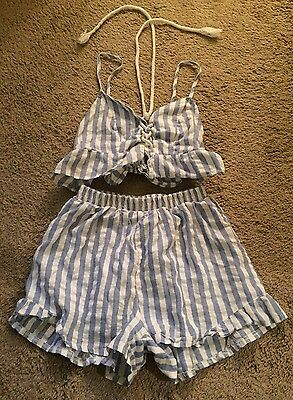 Blue & White Striped Woman's 2 Piece Outfit Size S