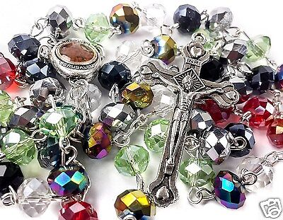 Multi color Catholic Rosary Necklace Colorful Beads Holy Soil Medal & Cross 19""