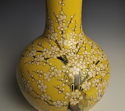 LARGE YELLOW CHINESE PORCELAIN VASE Hand Painted Flowers Blossoms Calligraphy