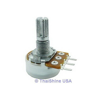 5 x 2K OHM Logarithmic Taper Rotary Potentiometers - USA SELLER - Free Shipping