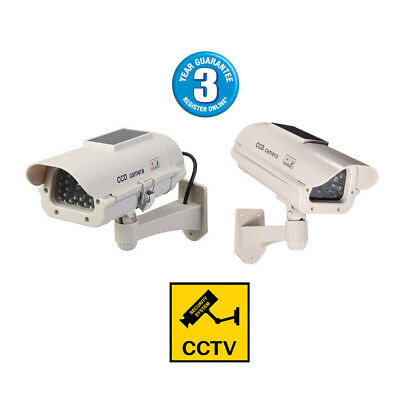 2 Pack Solar Powered Dummy Cctv Camera With Red Flashing Led Light 3Yr Warranty!