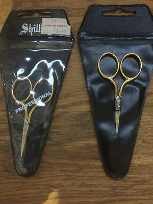 New In Packet -SHILLING- Professional Sewing Embroidery Scissors Gold RRP $24.95