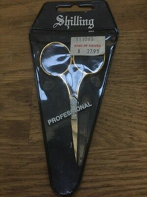 New In Packet -SHILLING- Professional Sewing Embroidery Scissors Gold RRP $27.95