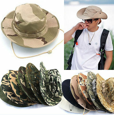 ce363cd1e79 Men Army Camo Hunting Fishing Hiking Outdoor Cap Bucket Boonie Sun Hat Mesh  SS+