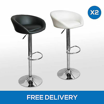 2x Luxury PU Leather Kitchen Bar Stool Dining Chairs Gas Lift White Black White
