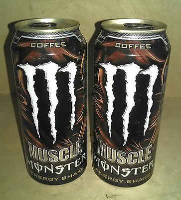 2x Muscle Monster COFFEE Energy Shake Cans. Full, Sealed 15 oz Cans