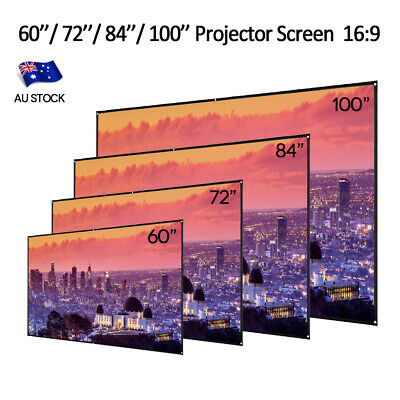 60''/72''/84''/100'' Projector Screen 16:9 HD Home Cinema Outdoor Projection AU
