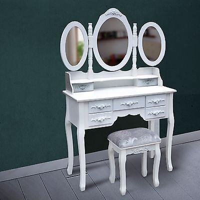 7 Drawer Mirrored Dressing Table Makeup Vanity Storage Jewellery Organizer Stool