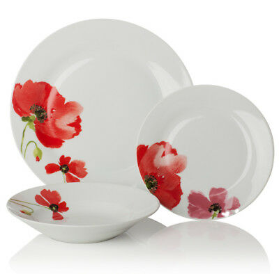 Sabichi Quality Set of 12 Pc Poppy Porcelain Dinner Set 179180_F Brand New