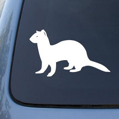 FERRET - Ferrett Weasel - Vinyl Car Decal Sticker #1513 | Vinyl Color: White