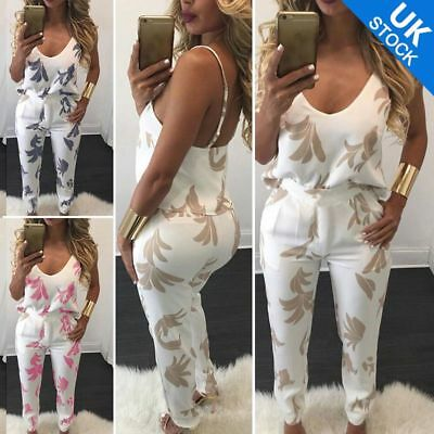 Women 2 pieces floral printed outfits V-neck top & long pants jumpsuit romper