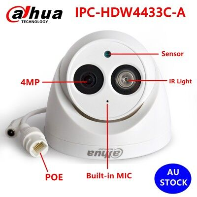 AU STOCK Dahua 4MP POE Built-in MIC IPC-HDW4431C-A IP Outdoor Security Camera