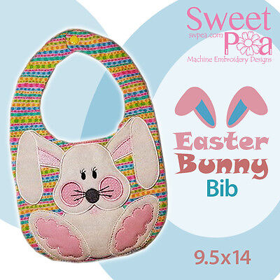 Easter bunny bib ITH in the hoop 9.5x14 machine embroidery design