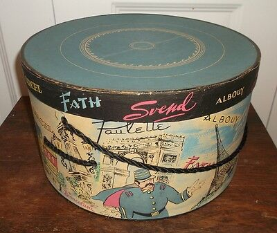 Vintage PARIS FRANCE Hat Box EIFFEL TOWER French GILBERT ORCEL Simone Gange FATH
