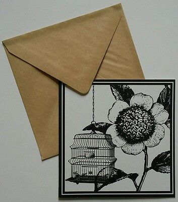 Set of 6 Blank Square Notecards & Envelopes Greeting ~ Bird Cage Flower