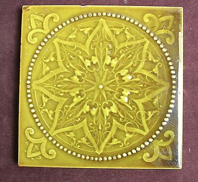 "Good Victorian Antique Majolica  6"" Tile c1890"