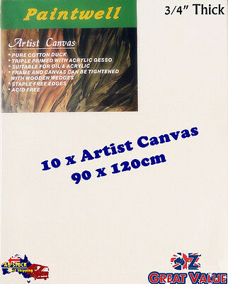 "10x Standard Blank Artist Stretched Canvas 90x120cm 3/4"" Thick 330gsm - SCS-3648"