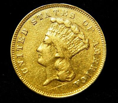 * RARE ! *  1857-S  US $3 Gold Indian Head Princess  Coin XF Details  LOW BID !