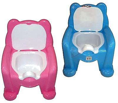 Toddler Bear Potty Training Chair Seat Removable Lid Blue Pink Easy Clean Kids