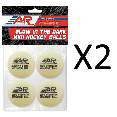A&R Glow In The Dark Mini Street Roller Low Bounce Hockey Balls 4 Pack (2-Pack)