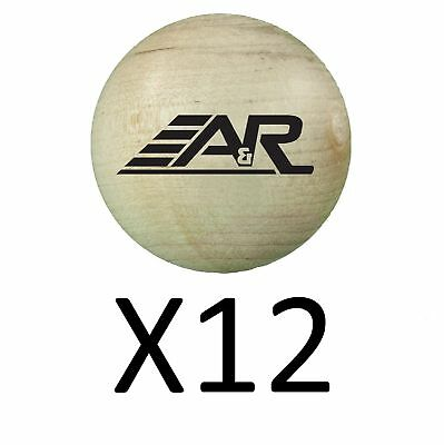 A&R 2 Inch Stick Handling Training Wood Ball Heavy Duty Durable Wooden (12-Pack)