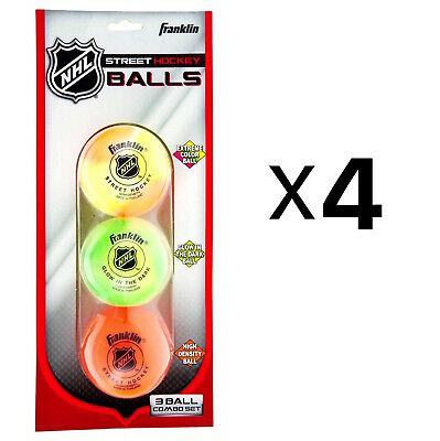 Franklin Sports NHL Street Hockey 3-Ball Combo For Superior Visibility (4-Pack)