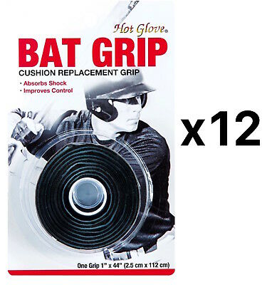 Unique Pro Sport Baseball-Softball Replacement Bat Grip Tape-Black (12-Pack)