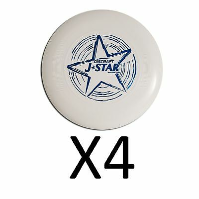Discraft Ultimate Frisbee Jstar 145 Gram Junior Official Youth - White (4-Pack)