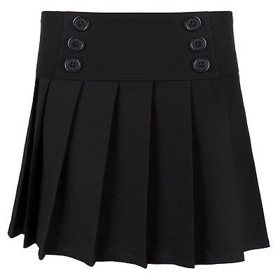 Girls Black 3 Button Pleated School Skirt School Uniform