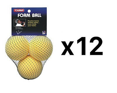 Tourna Foam Tennis Practice Youth Balls, Kids Training Aid-3 Pack (12-Pack)