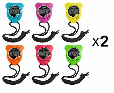 Champion Sports Digital Stopwatch Assorted Neon Colors, Set Of 6 (2-Pack)
