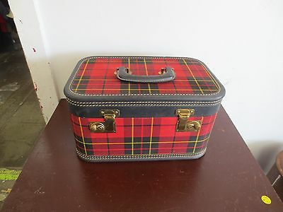 Vintage Red Plaid Train Make Up Travel Case Luggage